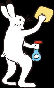 掃除するウサギ