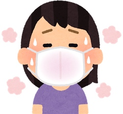 マスクをした女性(汗と熱)