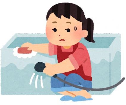 バスタブを掃除する女性